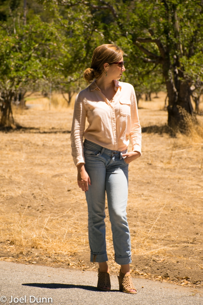 Summer Collared Shirt, Light Washed Jeans