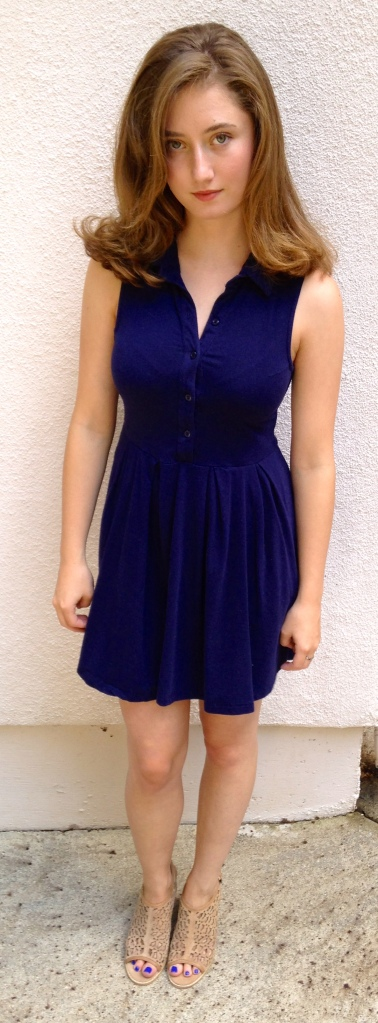 Blue dress with cutout mules.