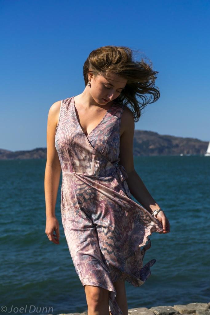 Forever 21 fancy dress, red heels, sundance watch & pearls