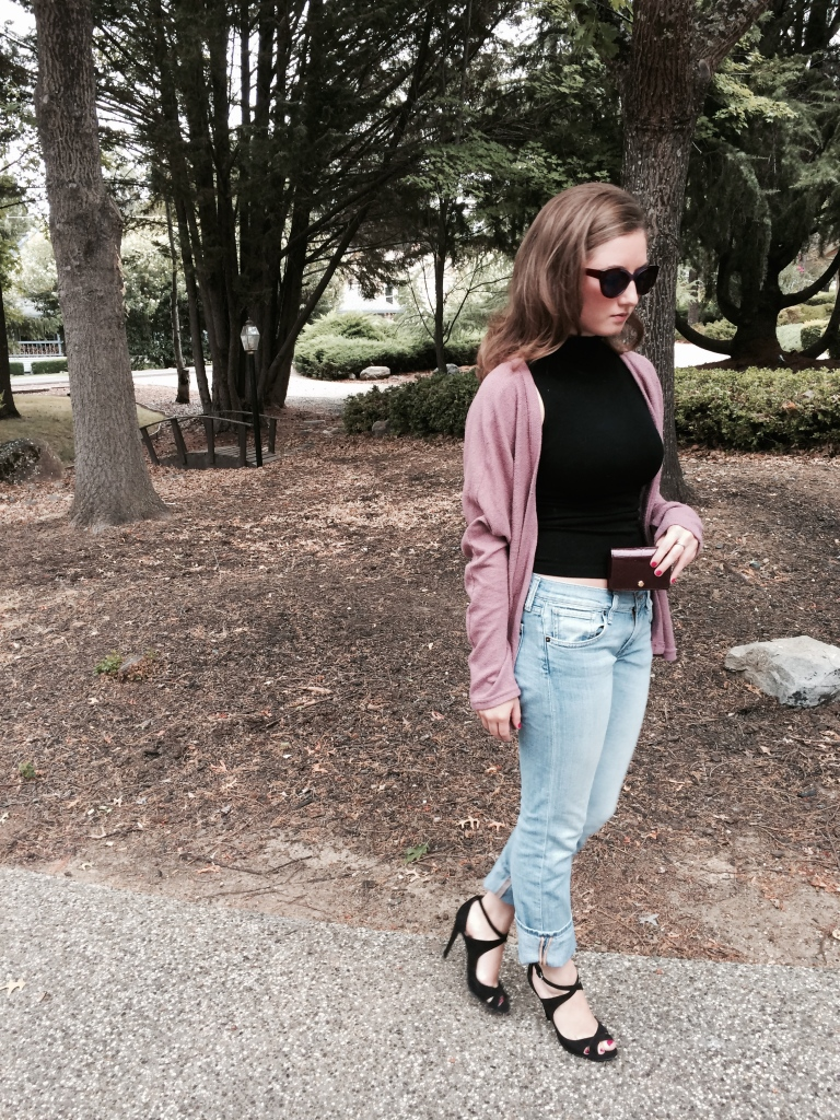 Strappy Zara Heels, Purple Sweater, Black Turtleneck Tank, Lucky Boyfriend Jeans, Louis Vuitton Wallet, Anthropology Sunglasses