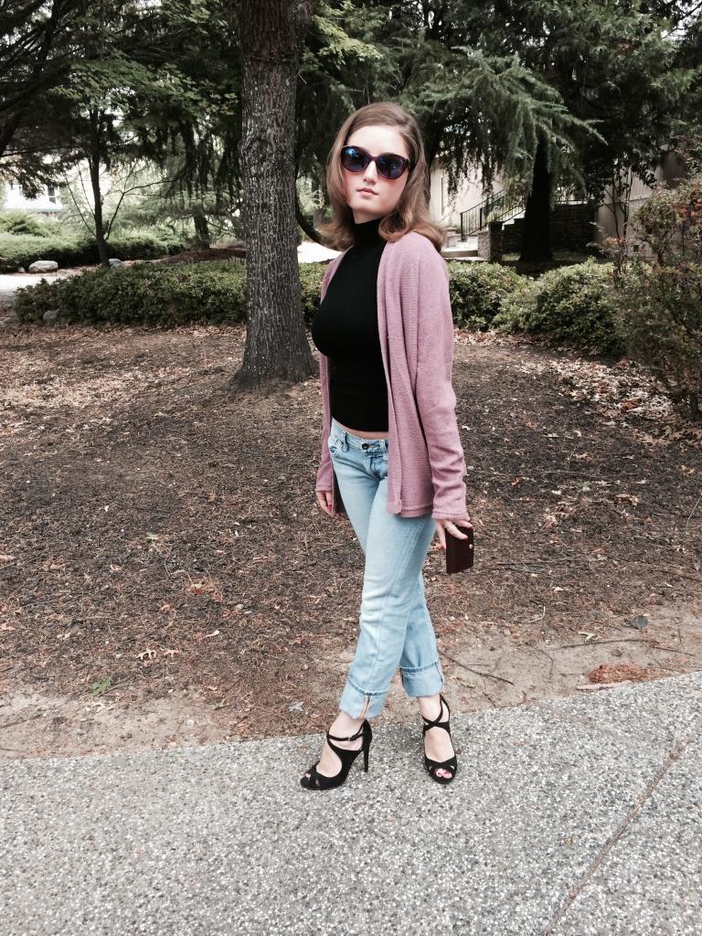 Strappy Zara Heels, Purple Sweater, Black Turtleneck Tank, Lucky Boyfriend Jeans, Louis Vuitton Wallet, Anthropology Sunglasses