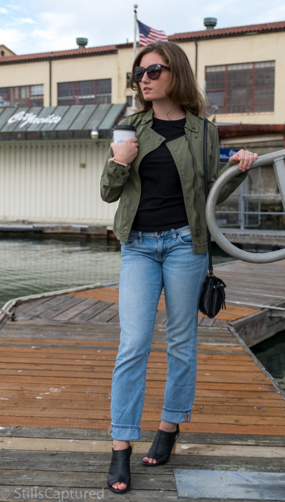 Off The Grid SF, H&M jacket, Black Pocket T-Shirt, Boyfriend Jeans, Peep-Toe Mule Heels, Sunnies, Cross-Body Leather Purse