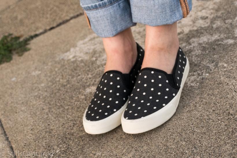 American Eagle polka dot sneakers