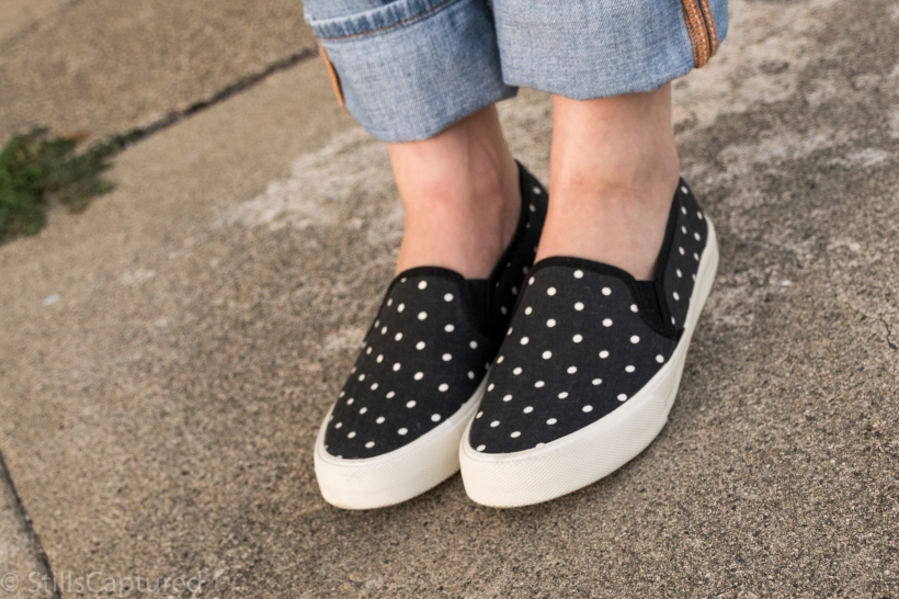 American Eagle polka dot sneakers