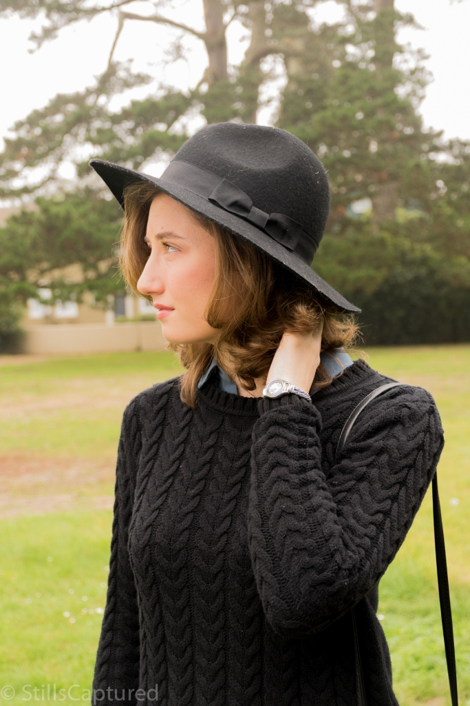 Black Sweater, Black Hat, short hair