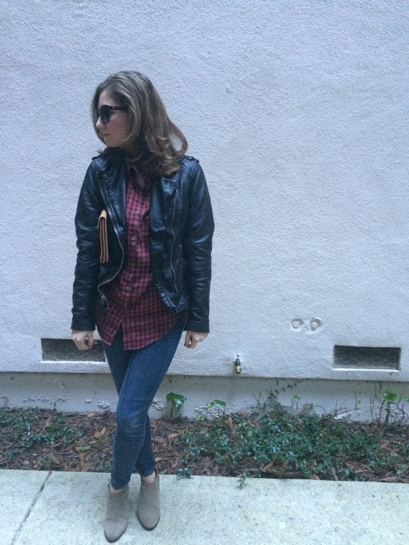 Abercrombie Leather jacket, Levis skinny jeans, Brandy Melville Flannel, Lucky Brand Booties, L.L. Bean Clutch