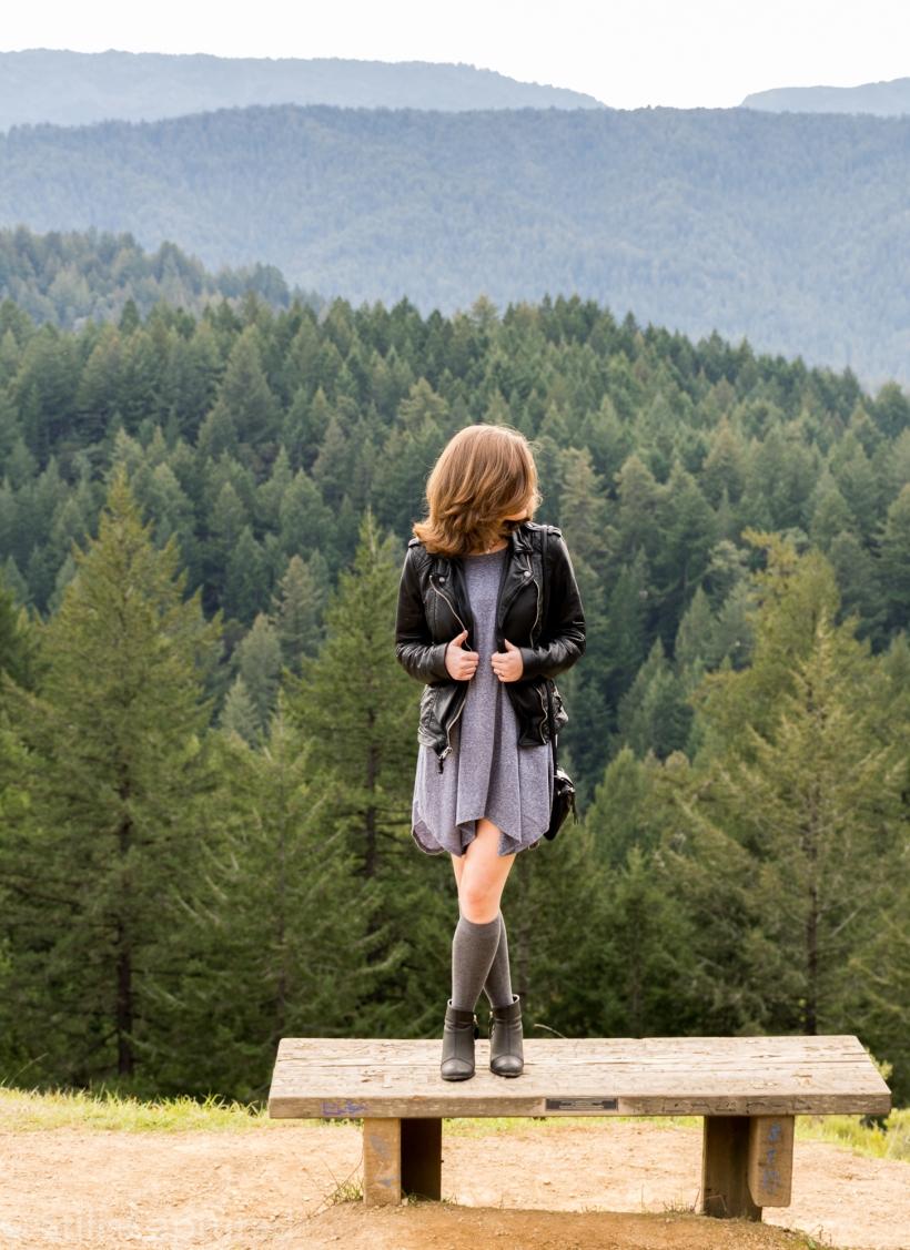 Leather jacket, Blue dress, Knee socks, Booties