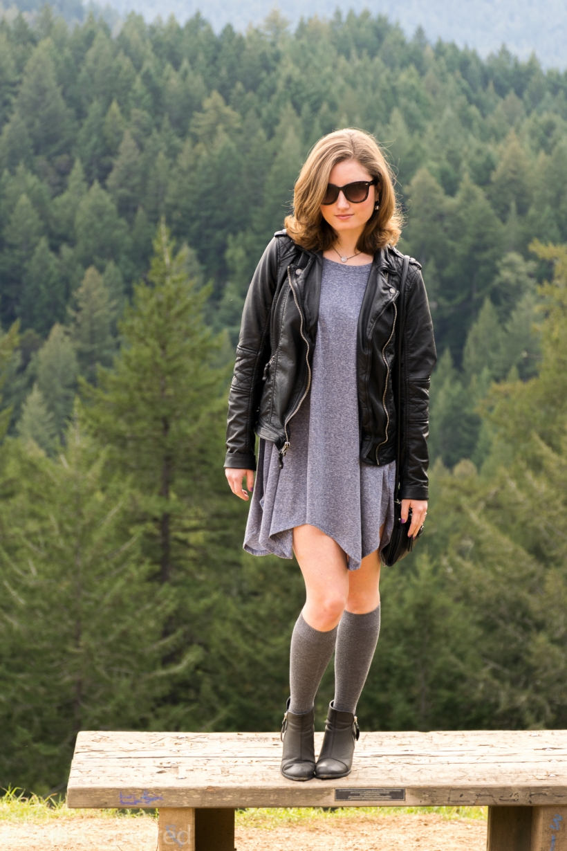 Leather jacket, Blue dress, Knee socks, Booties