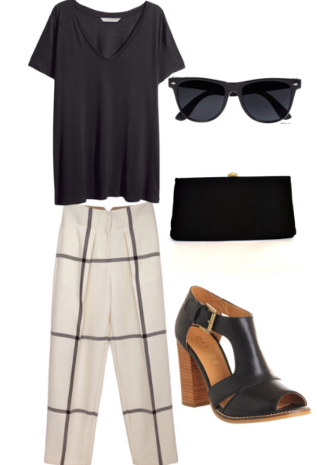 black loose t-shirt, trousers, black wedge, sunnies, clutch