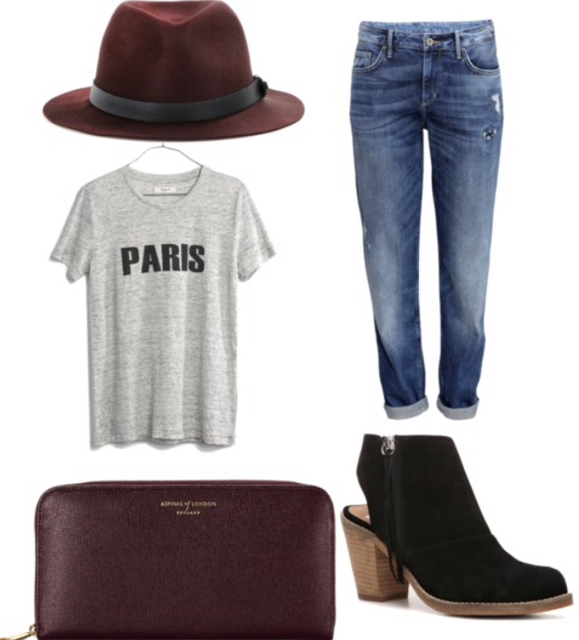 red hat, T-shirt, boyfriend jeans, black booties, purple clutch