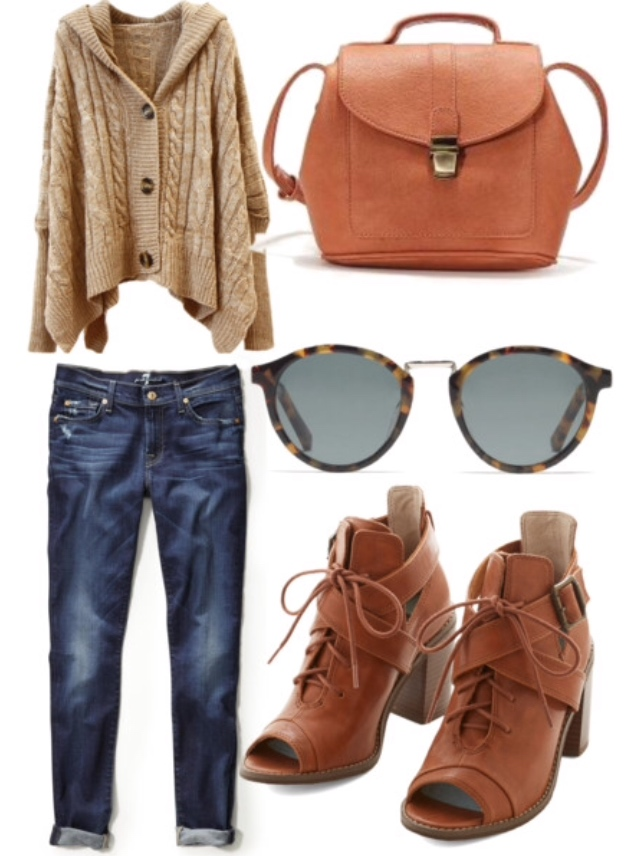 tan sweater, tan booties, tan backpack, boyfriend jeans
