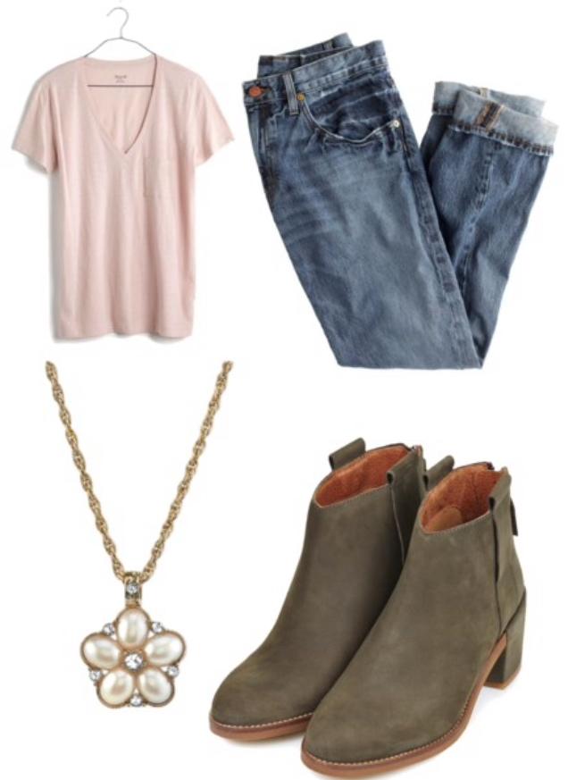 pink t-shirt, boyfriend jeans, green booties, statement necklace