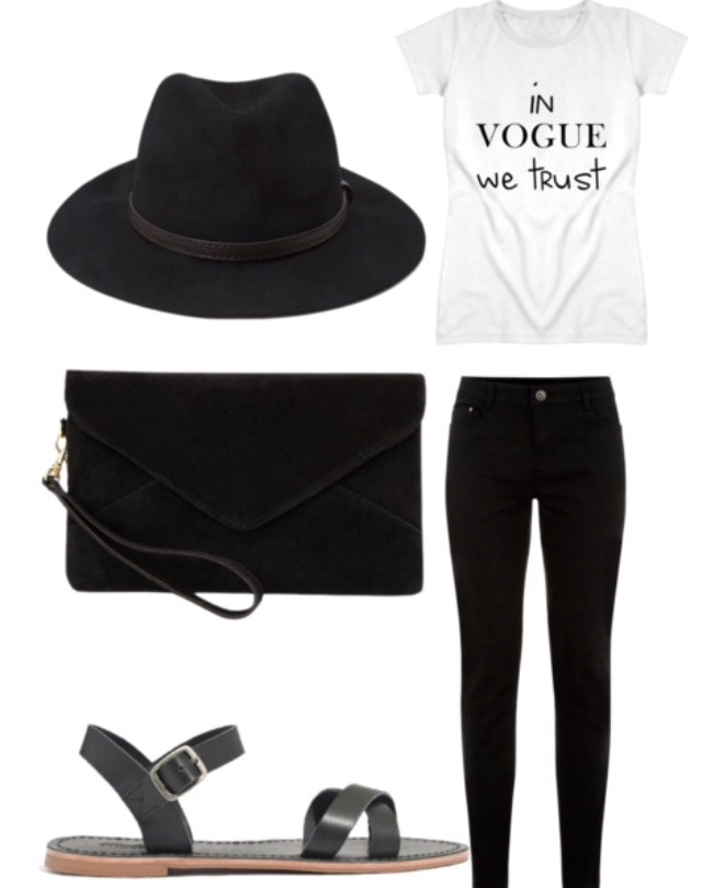 black hat, black skinnies, t-shirt, sandals