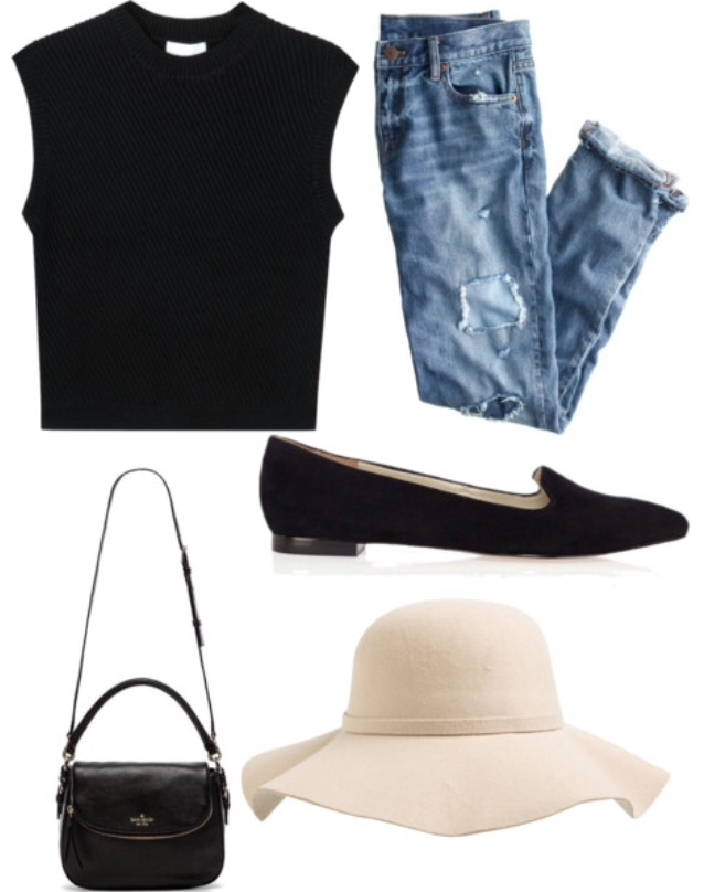 black tank, boyfriend jeans, sun hat, black flats