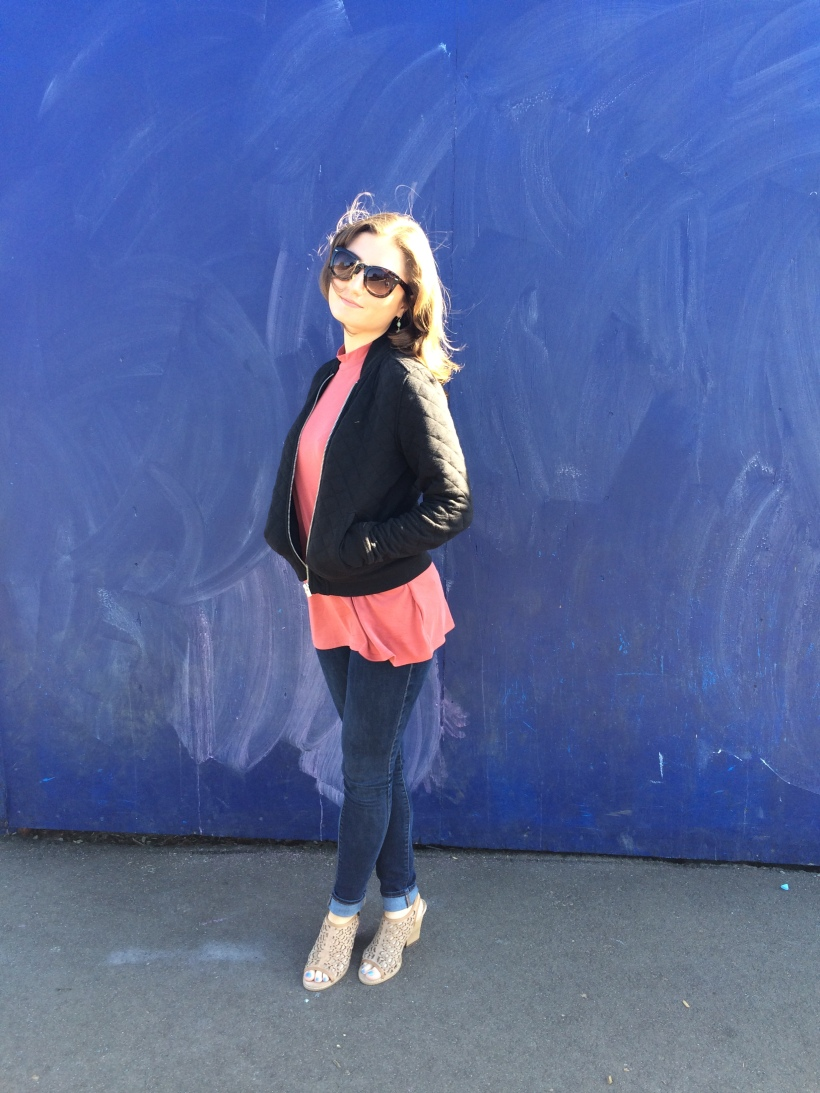 Urban Top, Gap Jacket, Levi's Jeans, Nordstrom Sunnies, Very Volatile Los Angeles Shoes