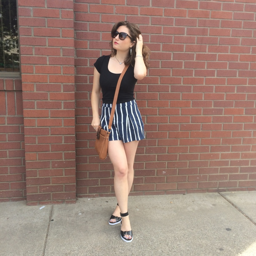 Abercrombie crop top, Abercrombie high-waisted striped shorts, Gap Strappy Sandals