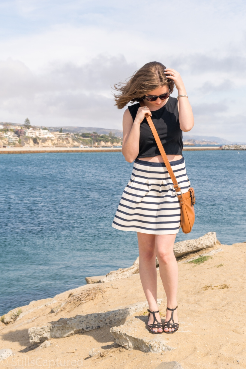 Express crop top, Nordstrom Sunnies, Gap Skirt, Chelsea Crew Sandals, Merona Bag