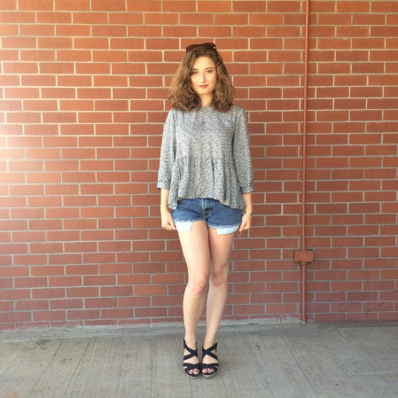 lucky brand earrings, red lips, urban peasant top, levi's denim cutoffs, scrappy wedges, nordstrom sunnies
