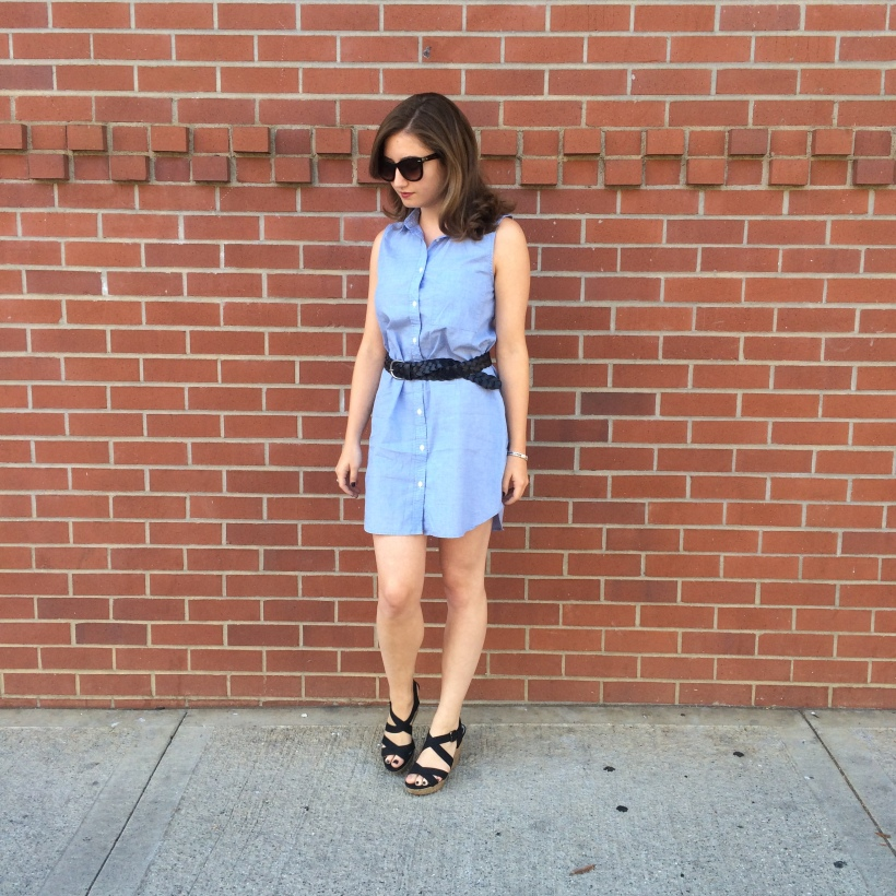 H&M dress, Nordstrom sunnies, American Eagle belt, Montego Bay Club Wedges