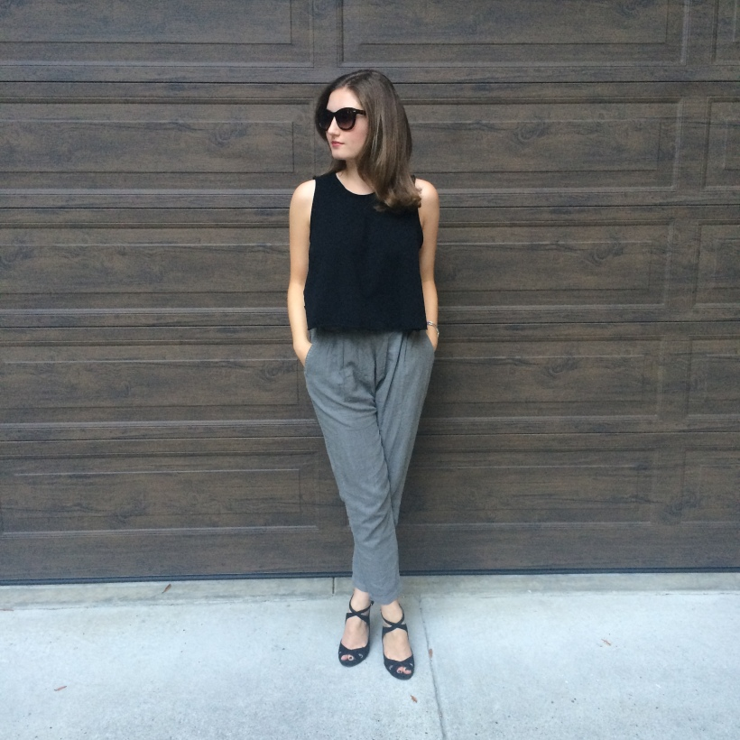Urban black tank, Urban pants, Zara heels, Lestrade Bag, Nordstrom Sunnies