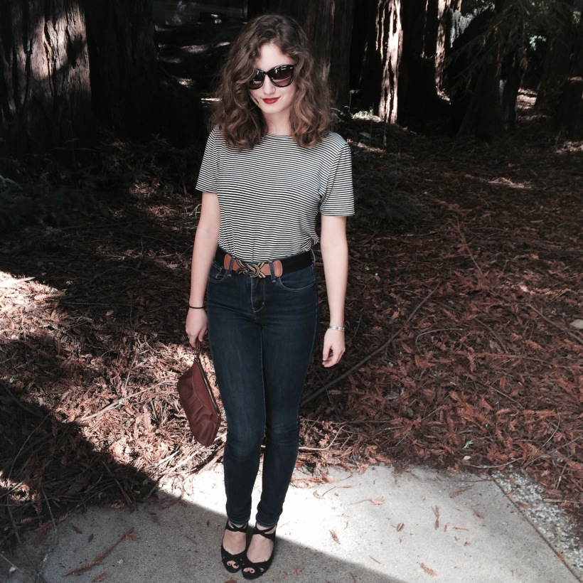 Abercrombie Striped Tee, Levi's Jeans, Urban belt, Zara Heels