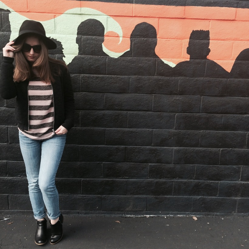 Brandy Melville Hat, Urban Outfitters Striped Sweater, STS Blue Jeans, Lucky Brand Bootles, Nordstrom Sunnies