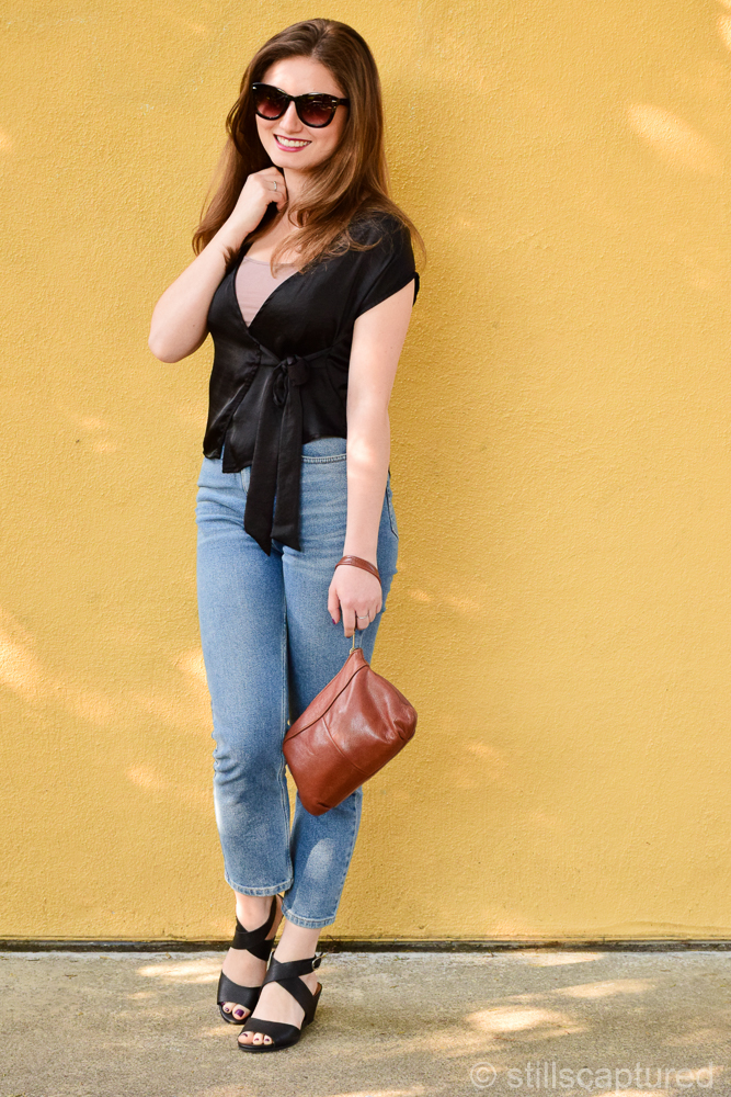 Nordstrom Sunnies, Urban Wrap Top, Urban Girlfriend Jeans, Lucky Wedges