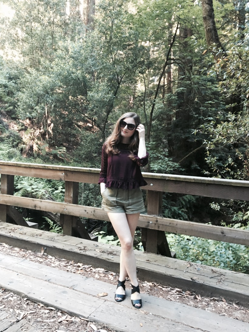Forever 21 Top & Shorts, Lucky Brand Heels, Nordstrom Sunnies
