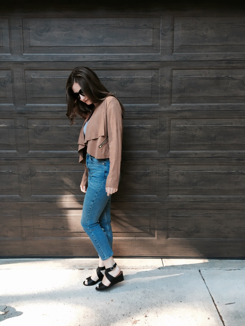 Suede Jacket, High waisted jeans, Wedge,  Crop Top