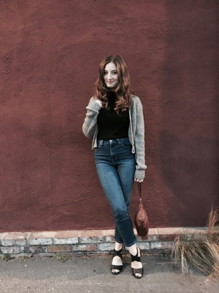 urban jeans and sweater, lucky heels, bar iii top