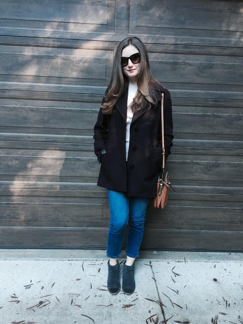 pea coat, Jeans, booties