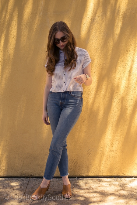 White button down, high wasted jeans, wedge sandals