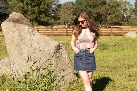 Tank Top, Denim Skirt, Heels, sunglasses
