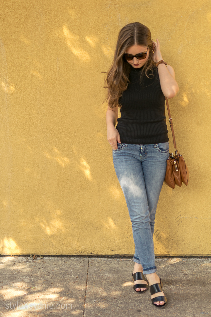 sleeveless turtleneck, jeans, heeled sandals, cat eye sunglasses, nordstrom, ootd, nine west cross body purse, California, blogger, style, fashion