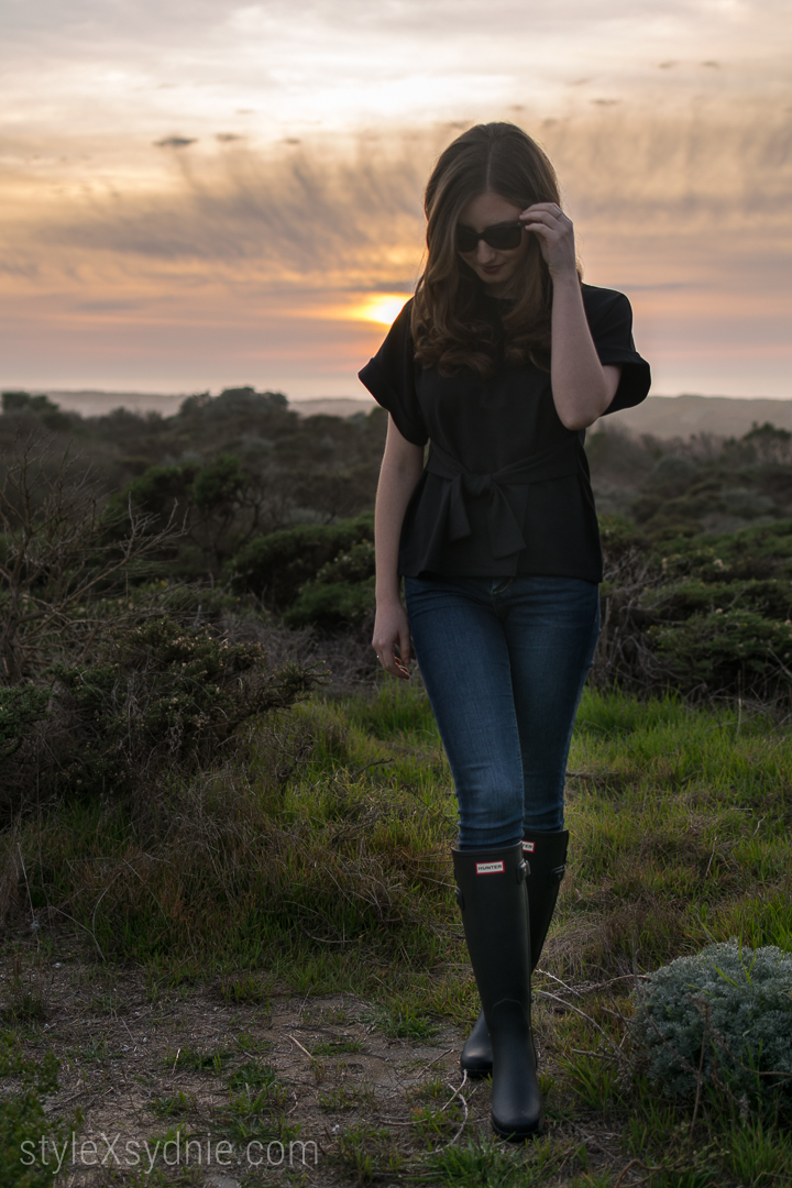 Moss Landing, Monterey, Hunter Rain Boots, Express Top, Sunset