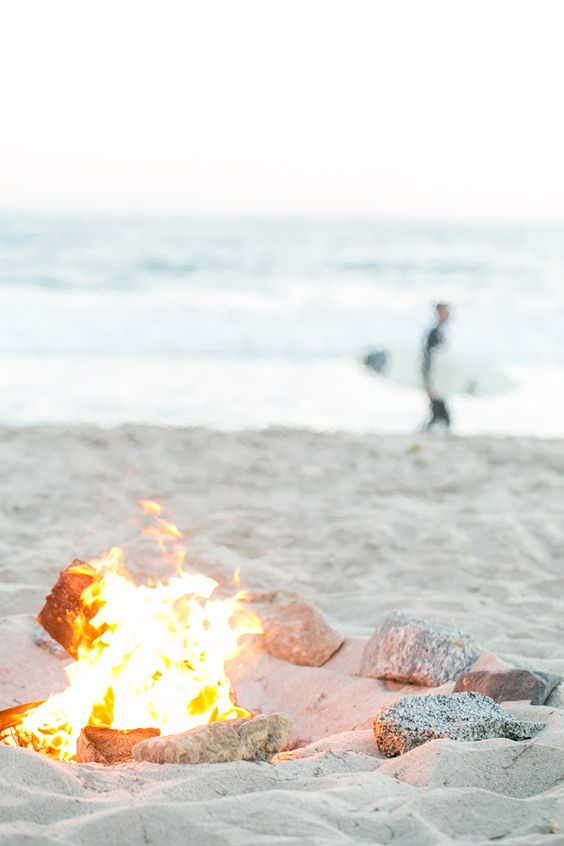 beach, bonfire