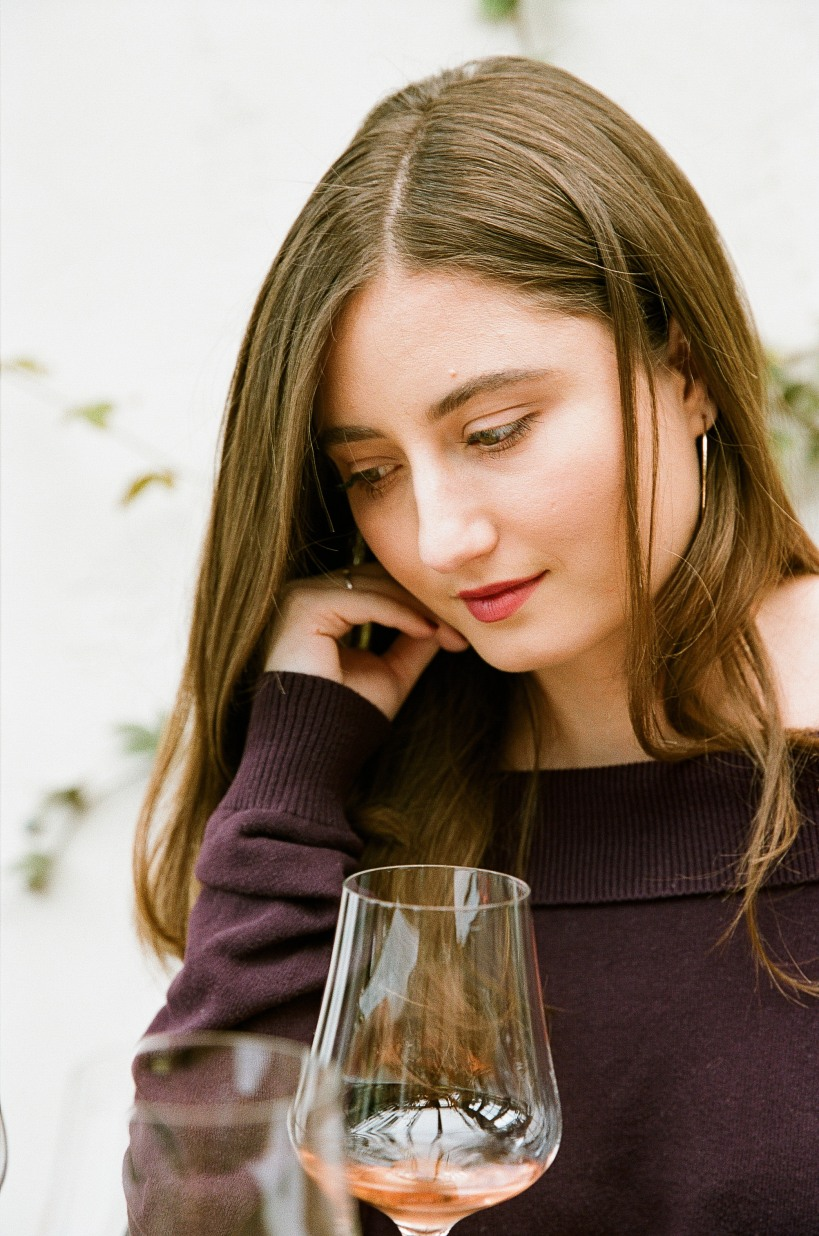 woman tasting wine, picture
