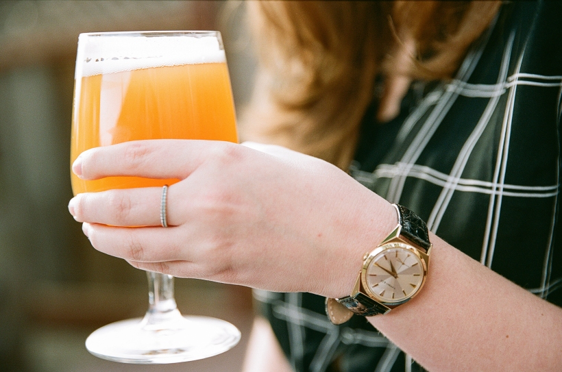 beer in woman's hand, picture