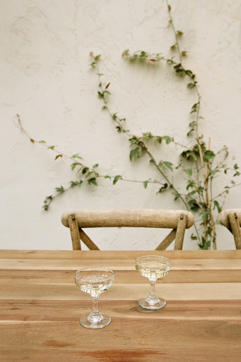 image of two empty champagne glasses at a wooden table with greenery in the background