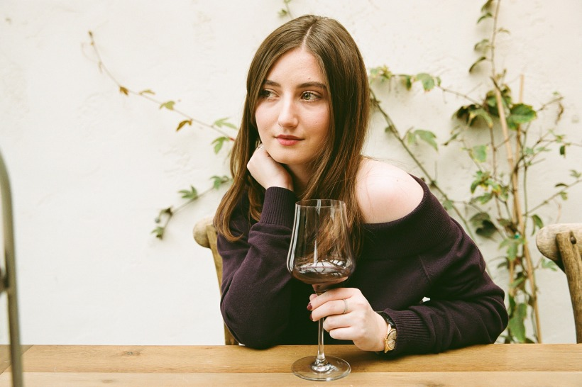 woman sipping wine, picture